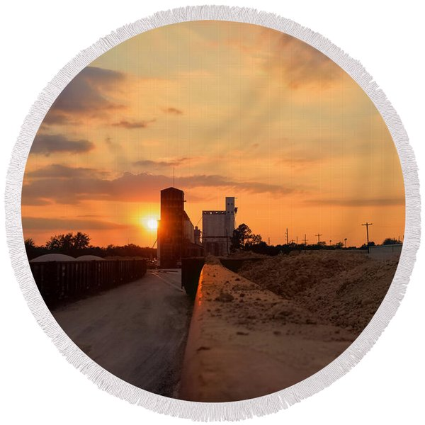 Katy Texas Sunset Round Beach Towel