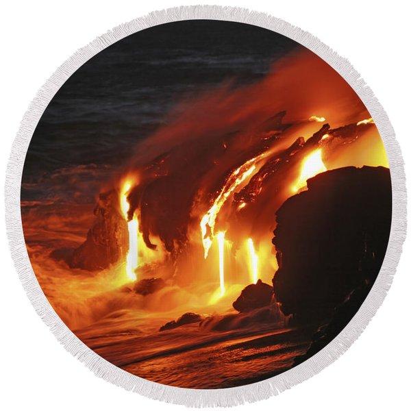 Kilauea Lava Flow Sea Entry, Big Round Beach Towel
