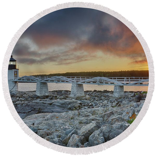 Marshall Point Lighthouse At Sunset, Maine, Usa Round Beach Towel