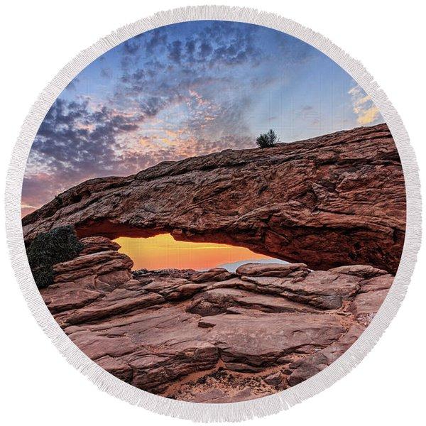Mesa Arch At Sunrise Round Beach Towel