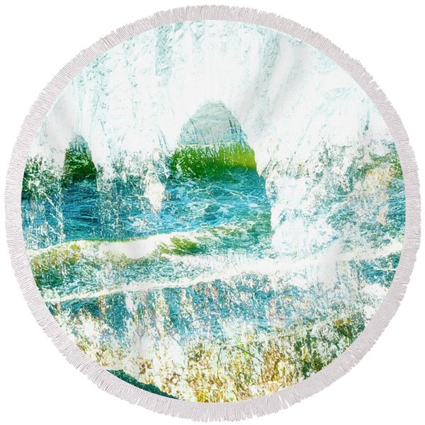 Round Beach Towel featuring the mixed media Mirage by Gerlinde Keating - Galleria GK Keating Associates Inc