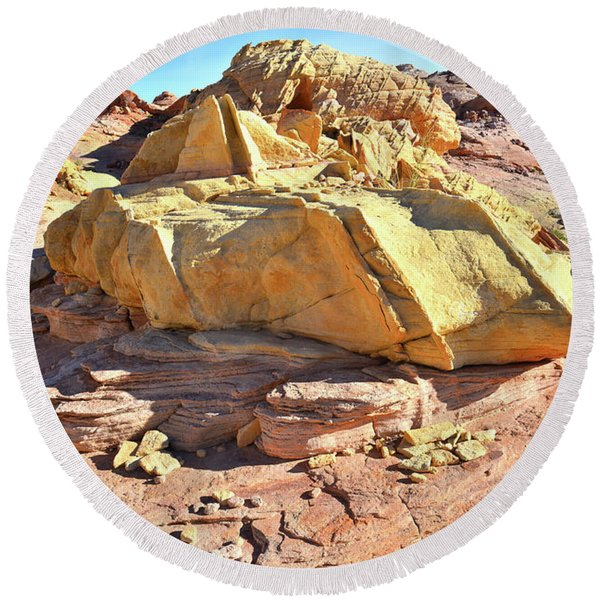 Morning In Wash 3 In Valley Of Fire Round Beach Towel