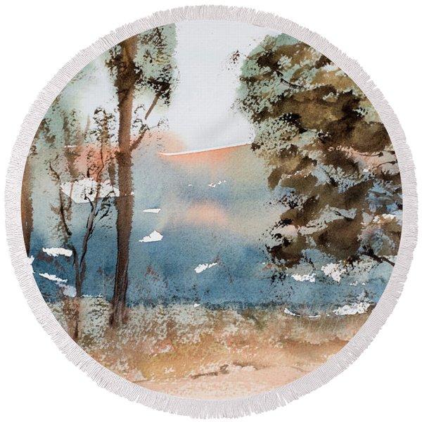Mt Field Gum Tree Silhouettes Against Salmon Coloured Mountains Round Beach Towel