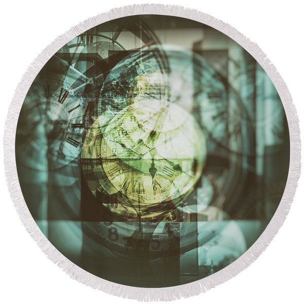 Round Beach Towel featuring the photograph Multi Exposure Clock   by Ariadna De Raadt