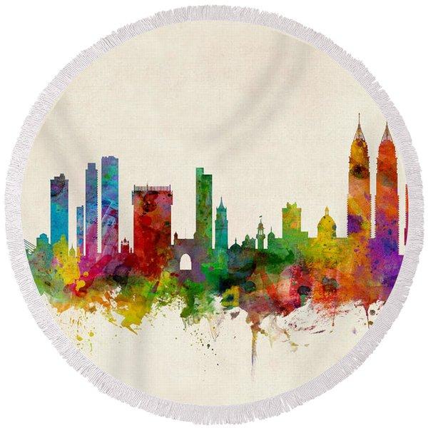 Mumbai Skyline India Bombay Round Beach Towel