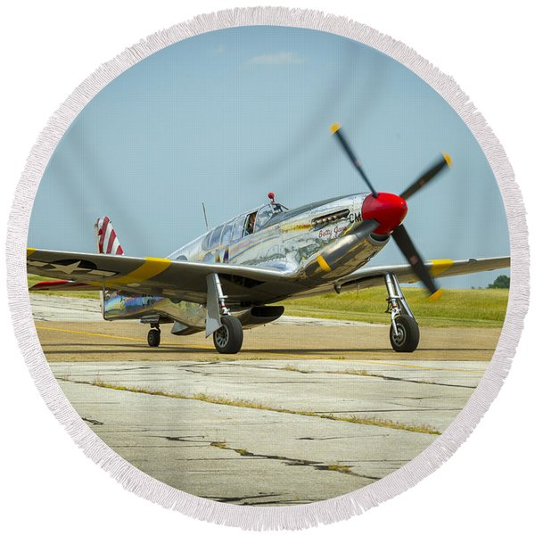 North American Tp-51c Mustang Round Beach Towel