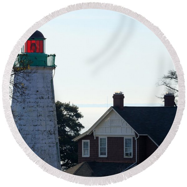 Old Point Comfort Lighthouse Round Beach Towel