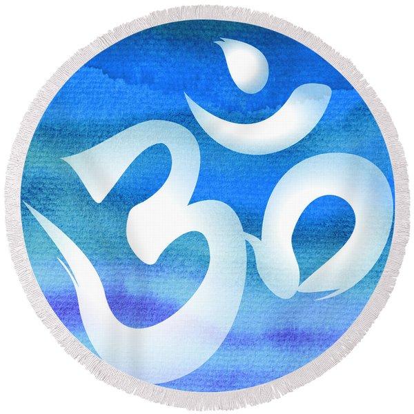 Om Symbol. Blue And White Round Beach Towel