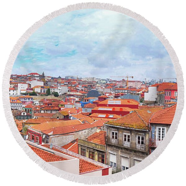 Round Beach Towel featuring the photograph panorama of old historic part of Porto by Ariadna De Raadt