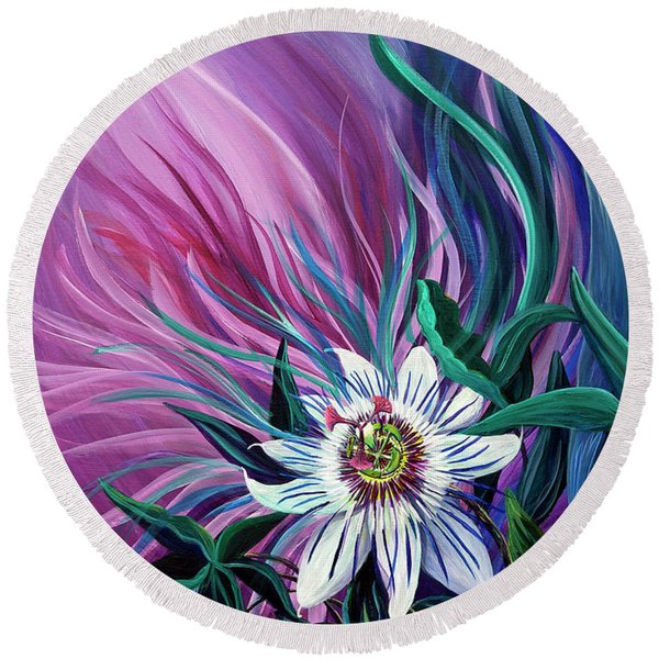 Round Beach Towel featuring the painting Passion Flower by Nancy Cupp