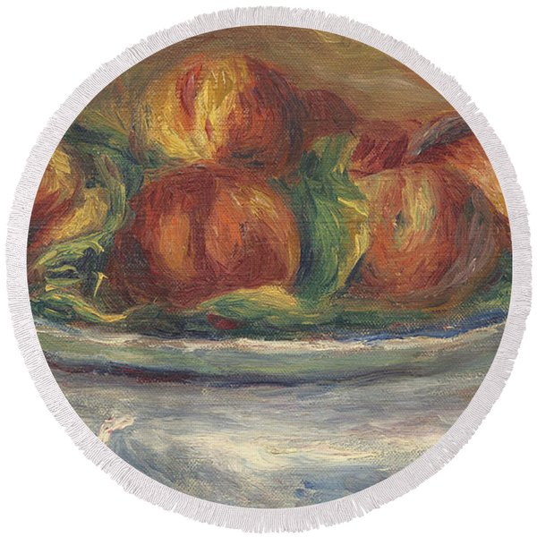 Peaches On A Plate Round Beach Towel