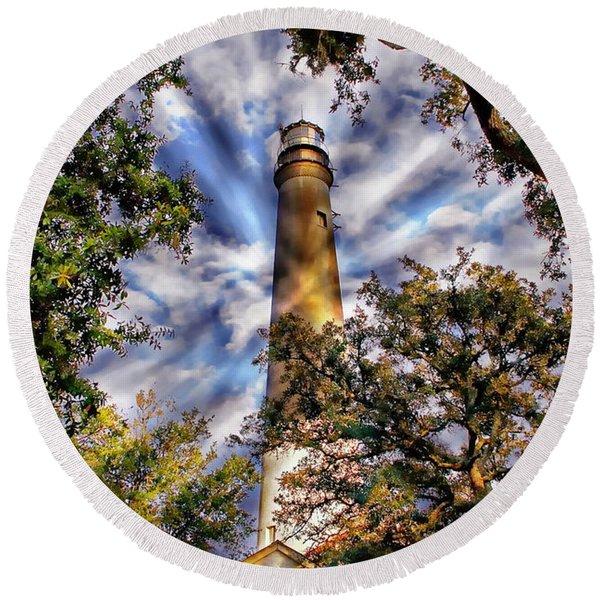Pensacola Lighthouse Round Beach Towel