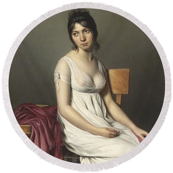 Portrait Of A Young Woman In White Round Beach Towel