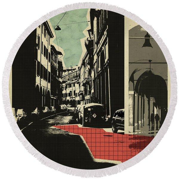retro postcard of Bologna Round Beach Towel
