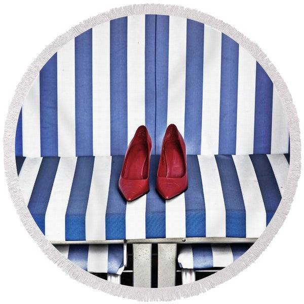 Shoes In A Beach Chair Round Beach Towel