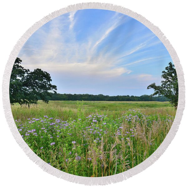 Silver Creek Conservation Area Sunset Round Beach Towel
