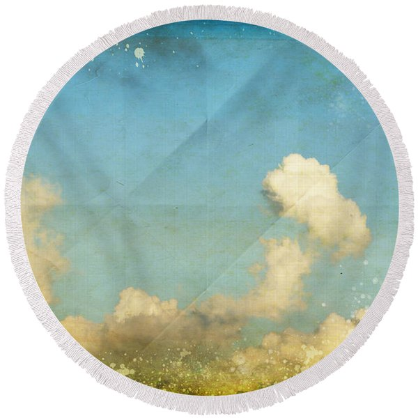 Sky And Cloud On Old Grunge Paper Round Beach Towel