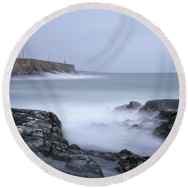 Spiddal Pier Round Beach Towel