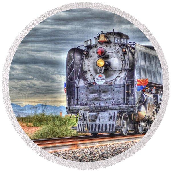 Steam Train No 844 Round Beach Towel