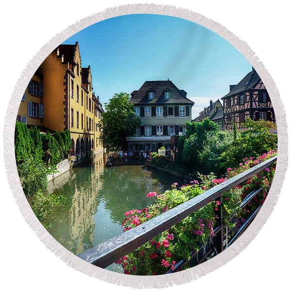 Round Beach Towel featuring the photograph summer panorama in Colmar, named  by Ariadna De Raadt