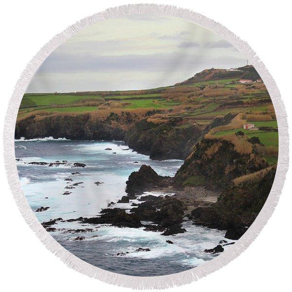 Terceira Coastline Round Beach Towel