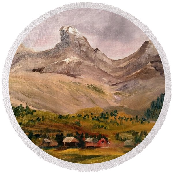 Tetons From The West Round Beach Towel