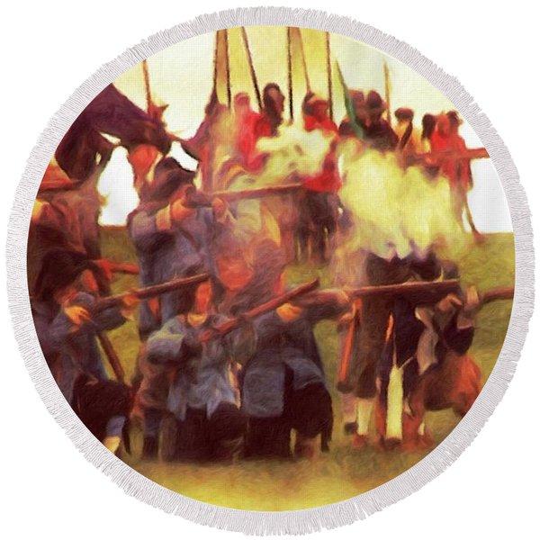 The Battle - English Civil War Round Beach Towel