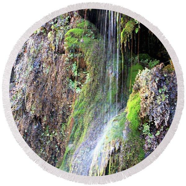 Tonto Waterfall Cave Round Beach Towel