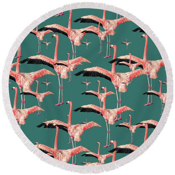 Tropical Flamingo  Round Beach Towel