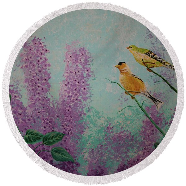 Two Chickadees Round Beach Towel