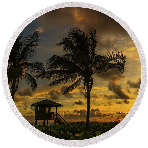 Two Palm Sunrise Delray Beach Florida Round Beach Towel