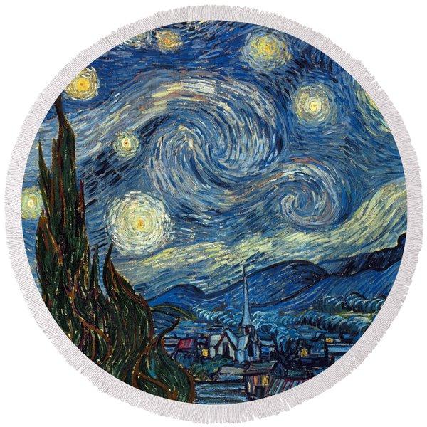 Van Gogh Starry Night Round Beach Towel