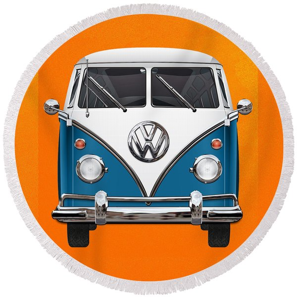 Volkswagen Type 2 - Blue And White Volkswagen T 1 Samba Bus Over Orange Canvas  Round Beach Towel