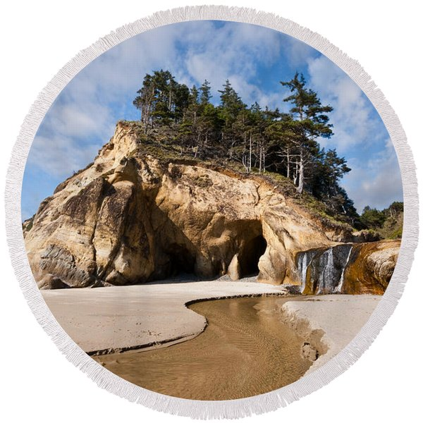 Waterfall Flowing Into The Pacific Ocean Round Beach Towel