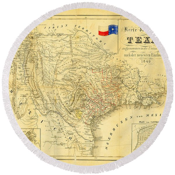 Round Beach Towel featuring the photograph 1849 Texas Map by Bill Cannon