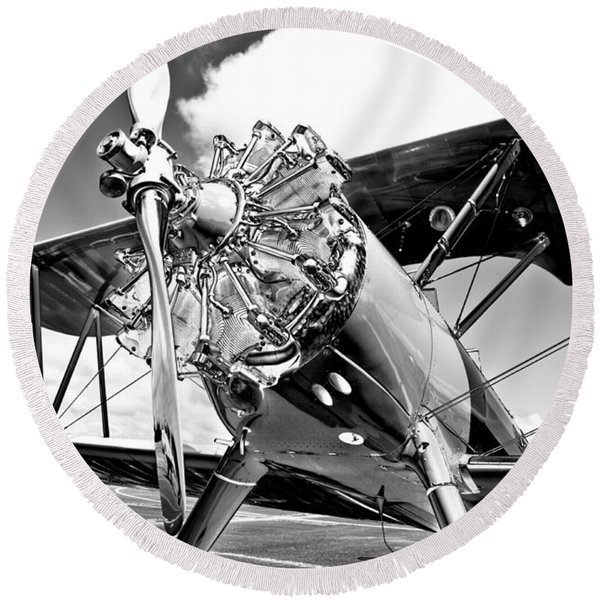1940 Stearman Biplane Round Beach Towel