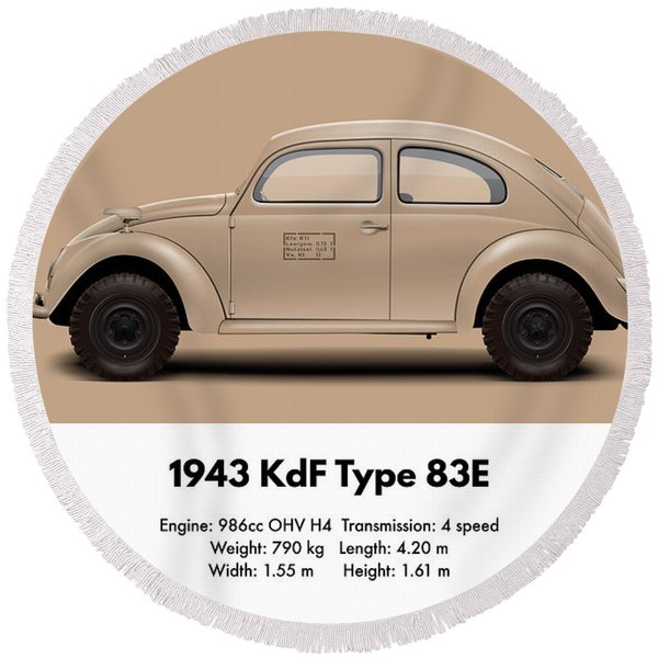 1943 Kdf Type 83e - Sand Round Beach Towel
