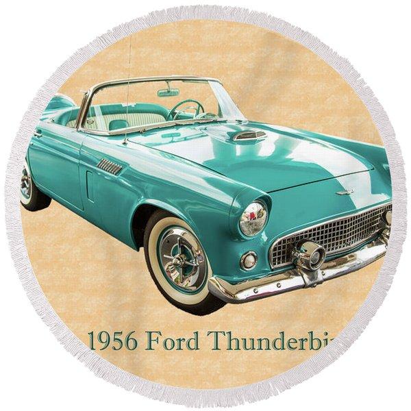 1956 Ford Thunderbird 5510.03 Round Beach Towel