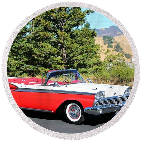 1959 Ford Fairlane 500 Round Beach Towel
