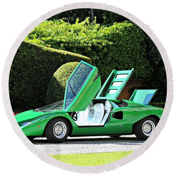 1975 Lamborghini P400 Countach Round Beach Towel