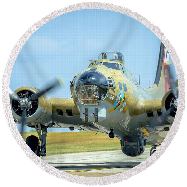 Boeing B-17g Flying Fortress   Round Beach Towel