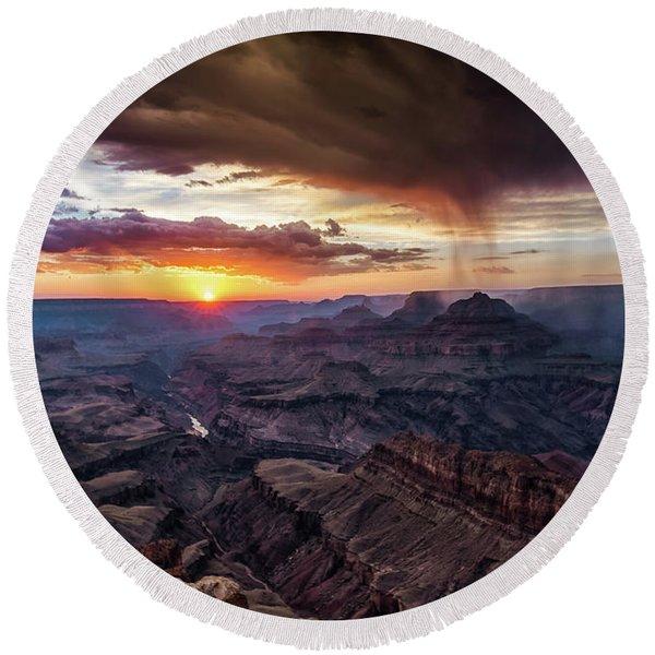 Grand Canyon Monsoon Sunset Round Beach Towel