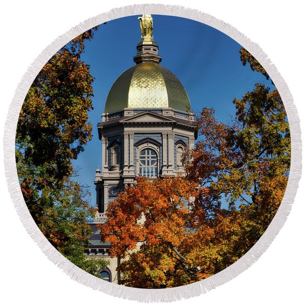 Notre Dame's Golden Dome Round Beach Towel