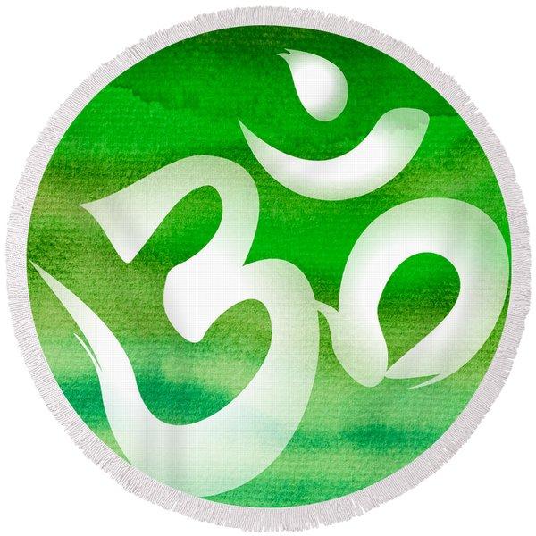 Om Symbol. Green Round Beach Towel