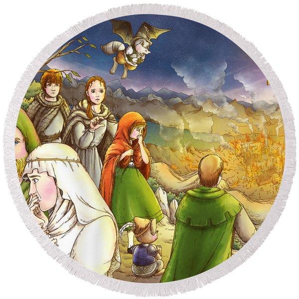 Robin Hood And Matilda Round Beach Towel