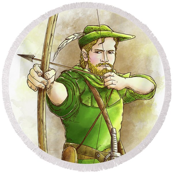 Robin Hood The Legend Round Beach Towel