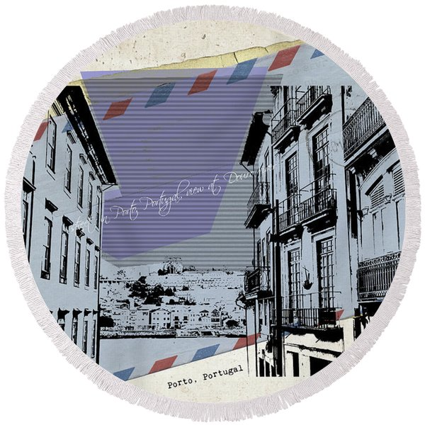 stylish retro postcard of Porto Round Beach Towel