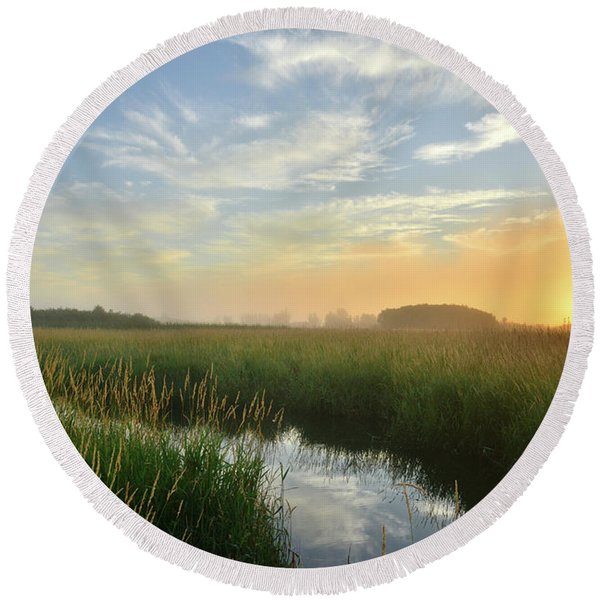 Sunrise At Glacial Park Round Beach Towel