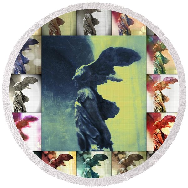 The Winged Victory - Paris - Louvre Round Beach Towel