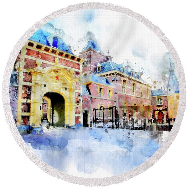 Town Life In Watercolor Style Round Beach Towel